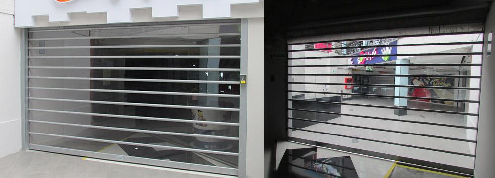Las Puertas Enrollables Polivista Cassadó por medio de su transparencia provee un efecto de amplitud
