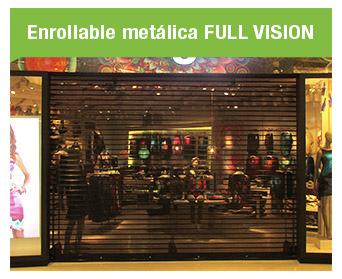 Las puertas Enrollables FULL VISION permiten la iluminación y ventilación del ambiente durante su cierre, permitiendo que el ambiente se mantenga exhibido.