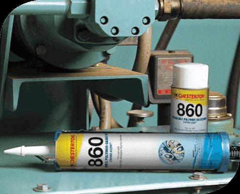 860 Empaquetadora de Polímero Moldeable Chesterton. Es un empaque polimérico que permite crear empaques ultra finos en superficies no uniformes.